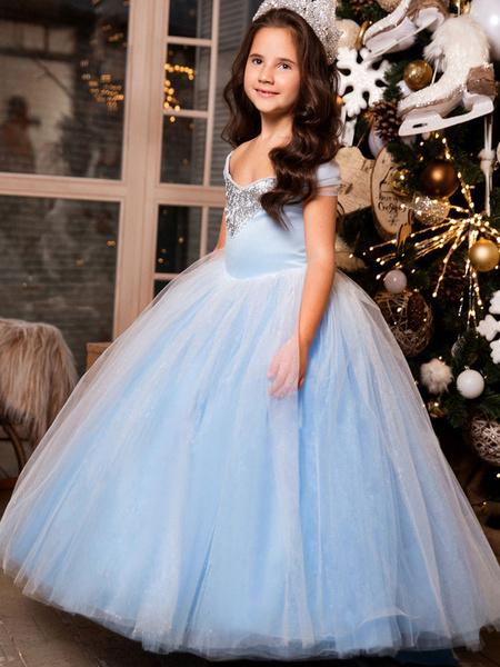 Milanoo Elsa Flower Girl Dresses Square Neck Sleeveless Lace Kids Party Dresses