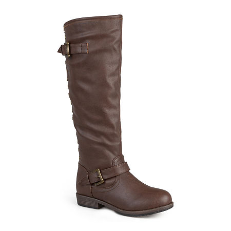 Journee Collection Womens Spokane Studded Riding Boots, 8 Medium, Brown