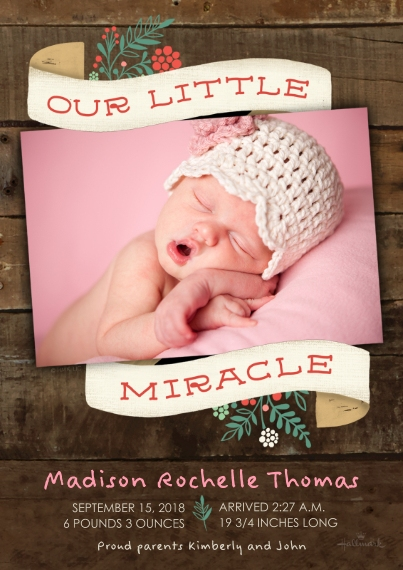 Newborn 5x7 Cards, Premium Cardstock 120lb with Scalloped Corners, Card & Stationery -Our Little Miracle