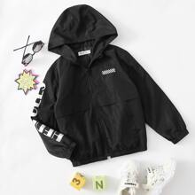 Boys Letter Graphic Patched Detail Wind Jacket