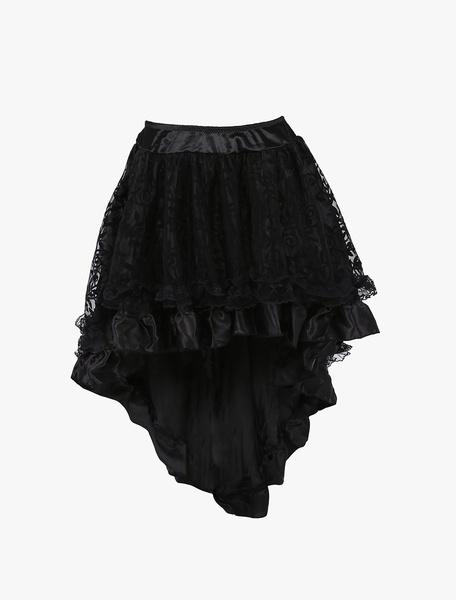 Milanoo 1950s Vintage Petticoat Tutu Crinoline Underskirt Black High Low Skirt For Woman