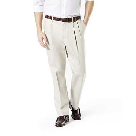 Dockers Men's Classic Fit Signature Khaki Lux Cotton Stretch Pants - Pleated D3, 31 30, Beige