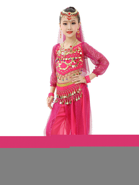 Milanoo Belly Dance Costume Kids Red Chiffon Long Sleeve Indian Bollywood Dancing Costumes