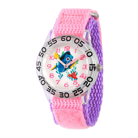 Disney Collection Girls Silver-Tone & Pink Numbered Bezel Finding Dory Watch, One Size , No Color Family