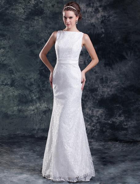 Milanoo Chic White Sheath Bateau Neck Sash Lace Bride's Wedding Dress