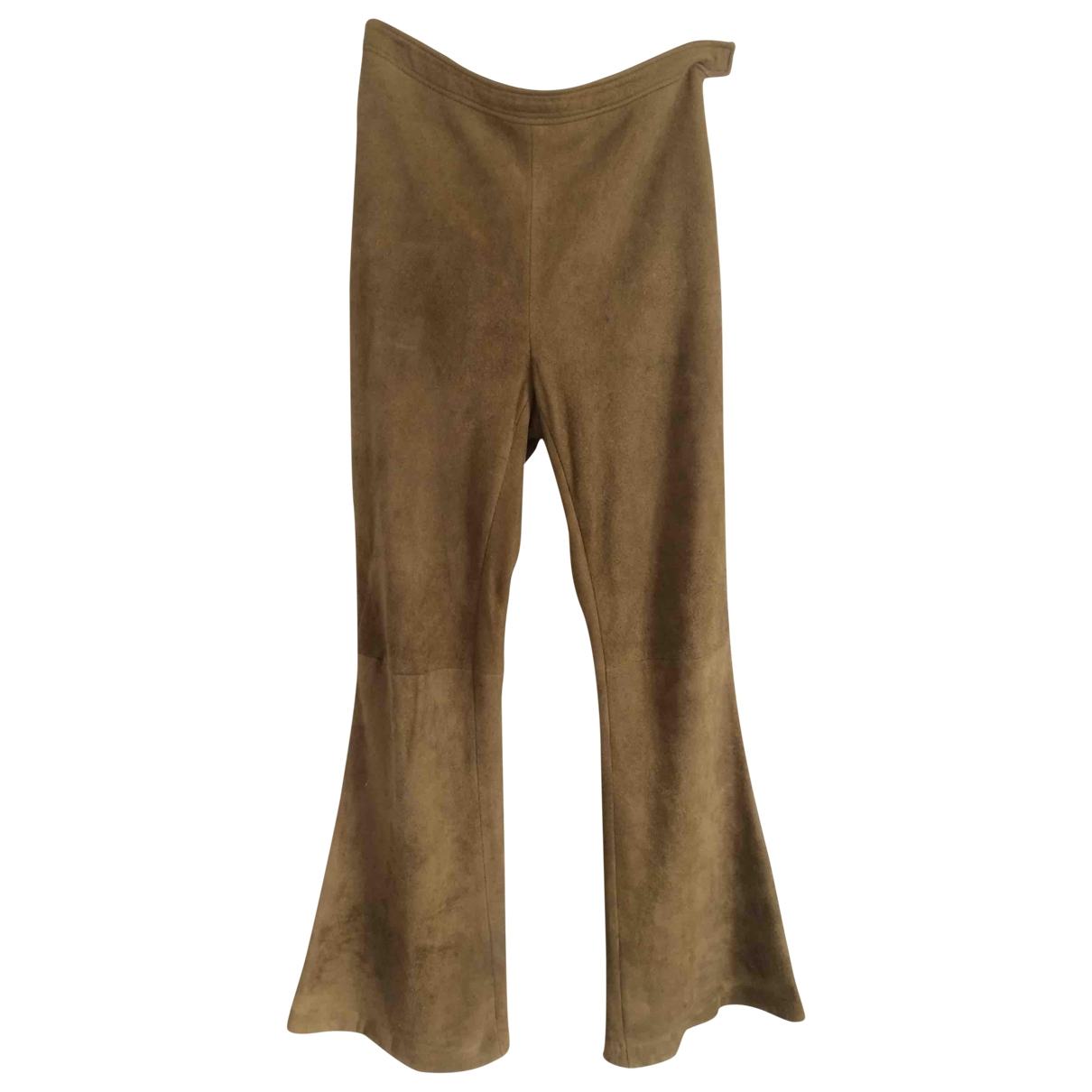 Paco Rabanne \N Khaki Leather Trousers for Women 38 FR