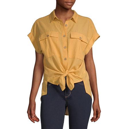 a.n.a Womens Short Sleeve Camp Shirt, X-small , Yellow
