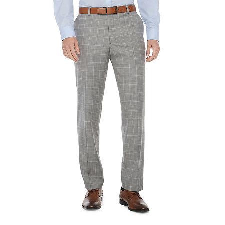 Stafford Super Mens Windowpane Classic Fit Suit Pants, 40 29, Gray
