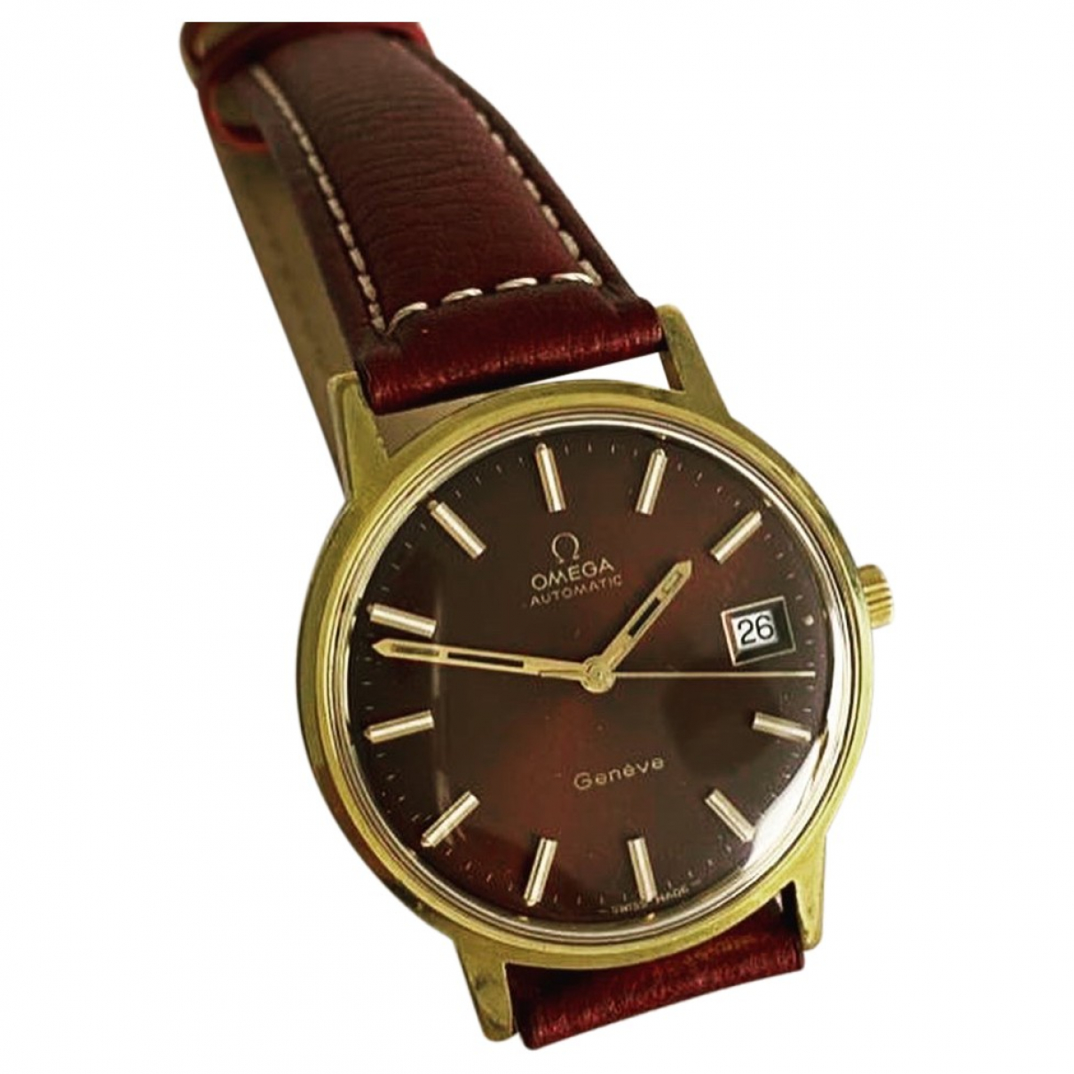 Omega \N Burgundy Gold plated watch for Women \N