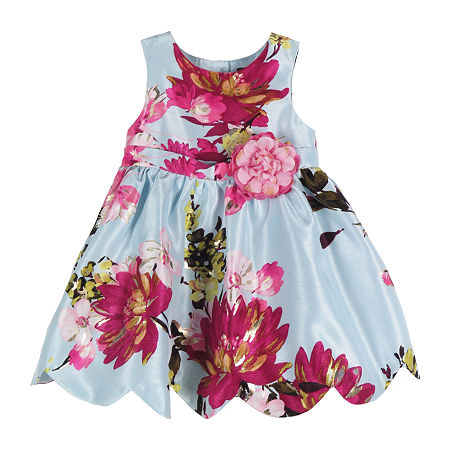 Lilt Baby Girls Sleeveless Floral A-Line Dress, 24 Months , Blue