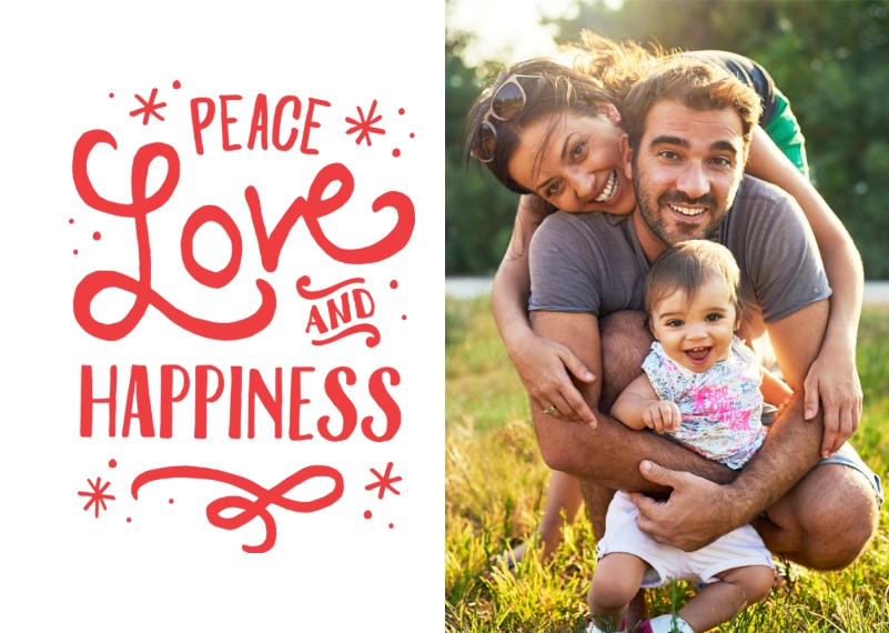 Holidays Scalloped Ornament (Metal), Gift -Peace Love Happiness