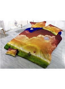 Clouds and Green Grass Natural Scenery Wear-resistant Breathable High Quality 60s Cotton 4-Piece 3D Bedding Sets