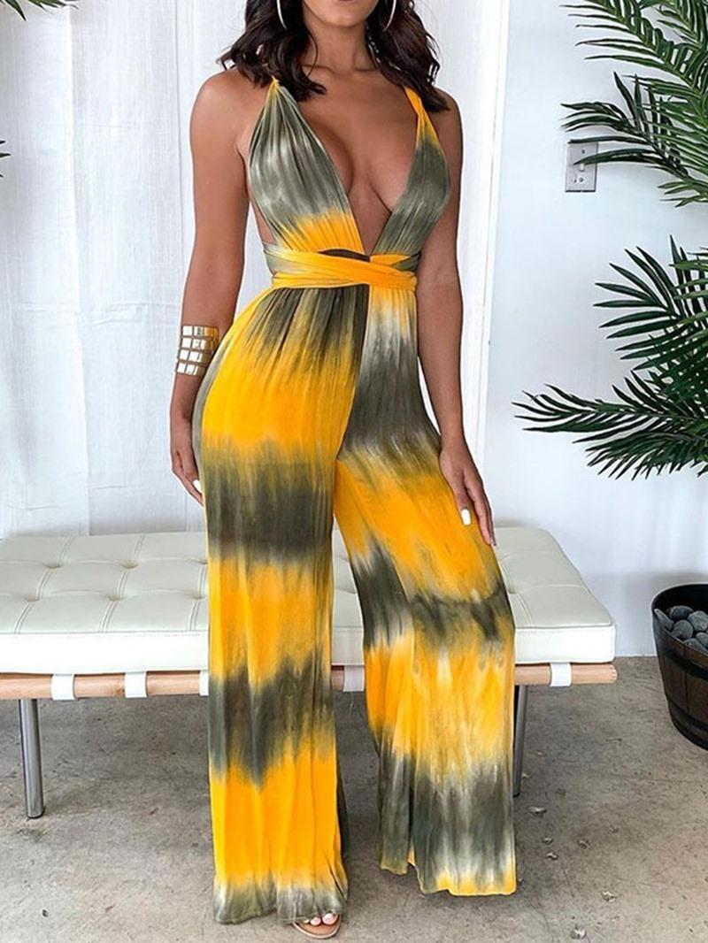 Ericdress Lace-Up Tie-Dye Sexy Color Block Slim Jumpsuit