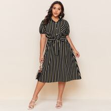 Plus Stripe Print Belted Dress