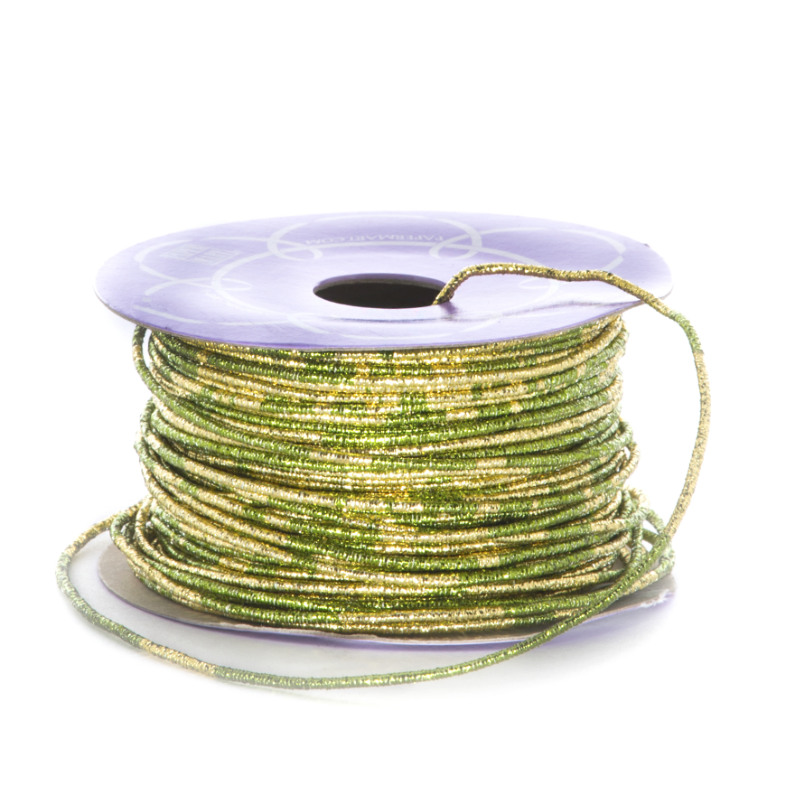 Sparkle 1.5mm X 50 Yards Green/Gold Variegated Metallic Cord by Ribbons.com