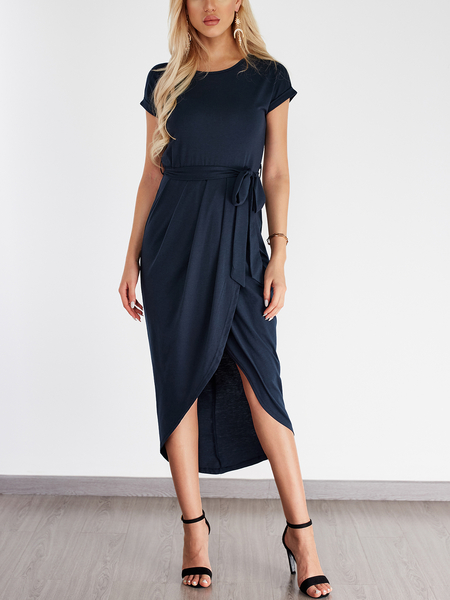 Yoins Navy Self-tie Design Irregular Hem Dress