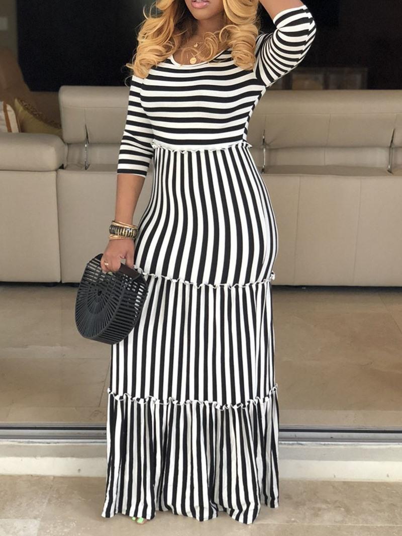 Ericdress Stripe Floor-Length Regular A-Line Maxi Dress
