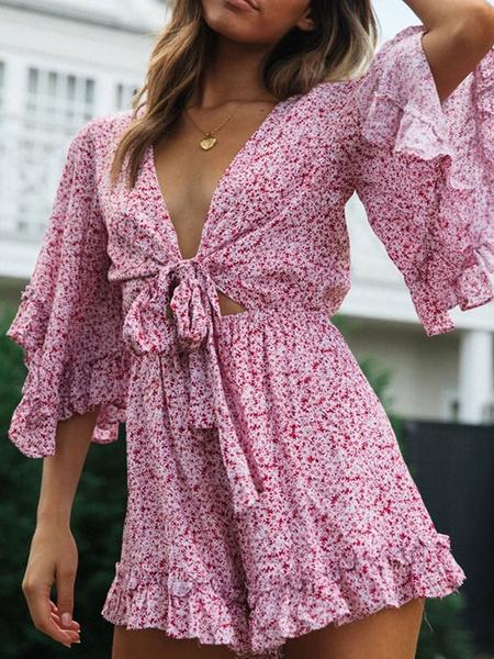 Milanoo Women Boho Romper Floral Print V-Neck Half Sleeves Ruffles Knotted Summer Jumpsuit