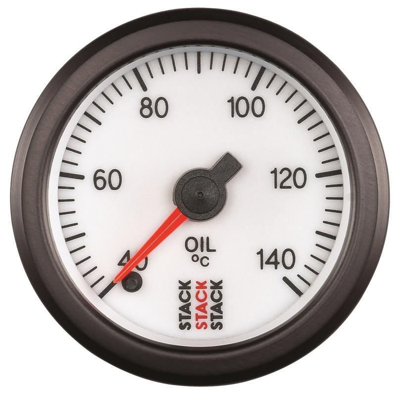 AutoMeter GAUGE; OIL TEMP; PRO STEPPER MOTOR; 52MM; WHT; 40-140deg.C; 1/8in. NPTF MALE