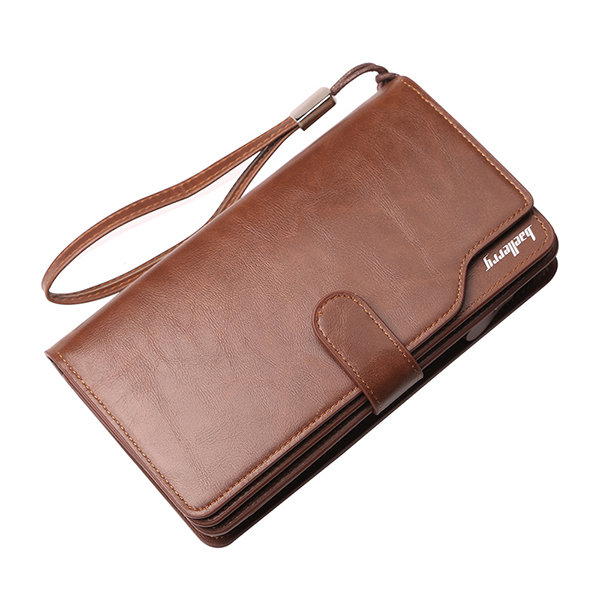 Large Capacity Business Casual Multi-Slots Clutch Bag Long Trifold Wallet For Men