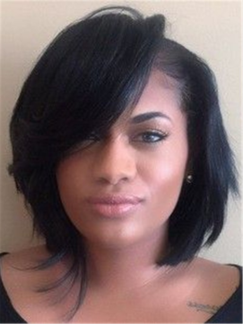 Ericdress Short Bob Straight Synthetic Hair With Full Bangs Women Wigs Capless 10 Inches