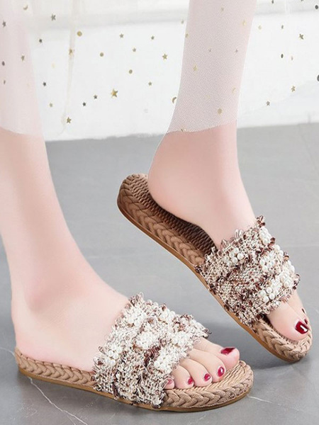 Milanoo Women Flat Sandals Cane Open Toe Pearls Slide Sandals