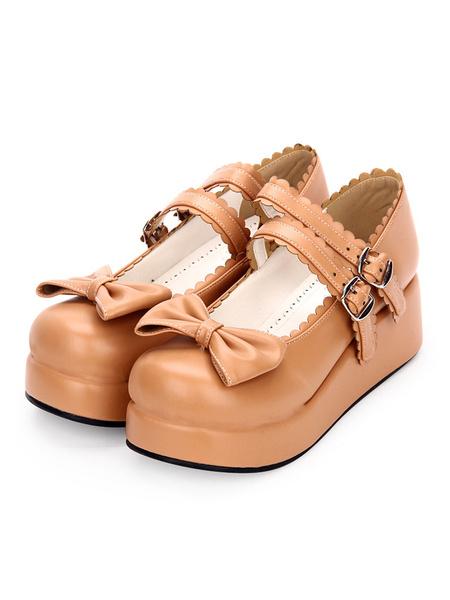 Milanoo Sweet Lolita Footwear Bow Frill Strappy Buckle Platform PU Lolita Shoes
