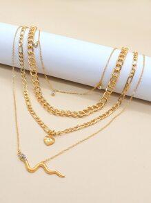 Heart & Serpentine Charm Necklace