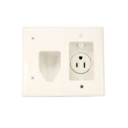 Recessed Low Voltage Cable Wall Plate with Recessed Power, White - Monoprice®