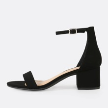Nubuck Ankle Strap Low Heel Sandals