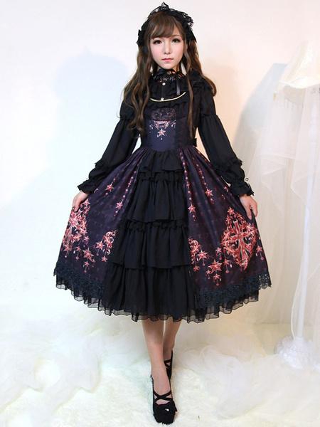 Milanoo Gothic Lolita Dress JSK Black Printed Layered Ruffle Slim Fit Cotton Jumper Skirt Original Design