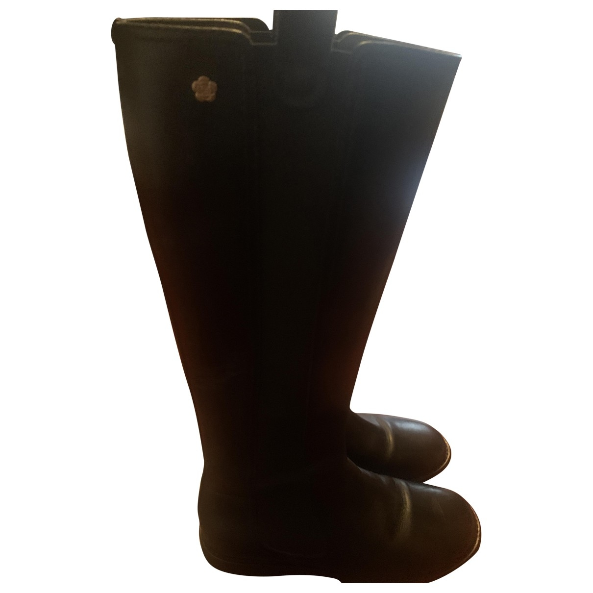 Chanel \N Black Leather Boots for Women 4.5 UK