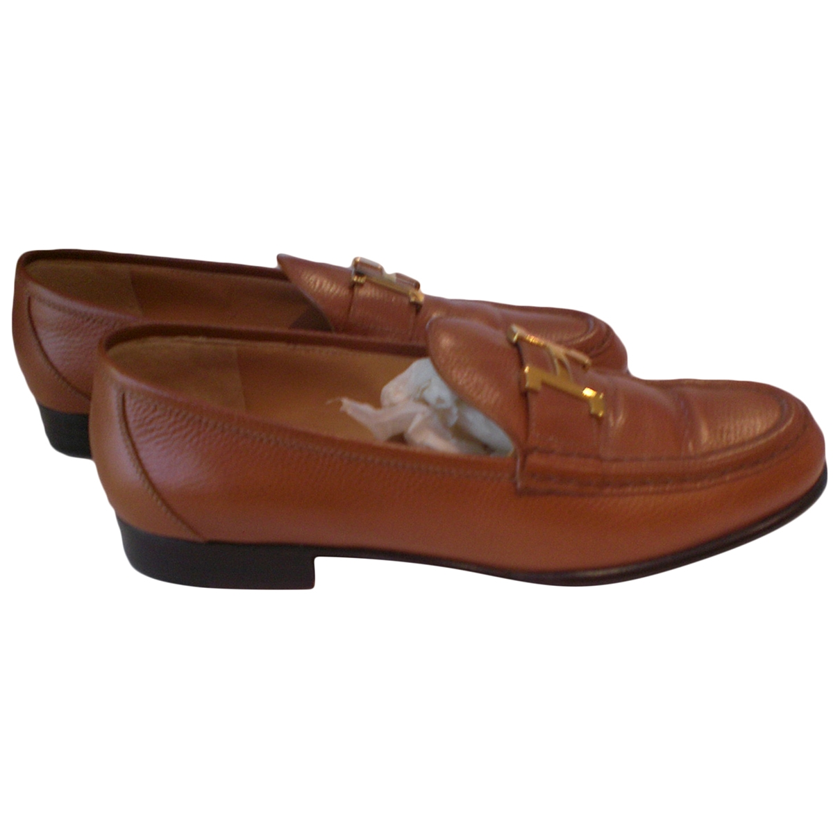 Herm??s \N Leather Flats for Women 37 EU