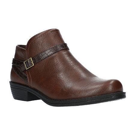 Easy Street Womens Peony Booties Block Heel, 10 Wide, Brown