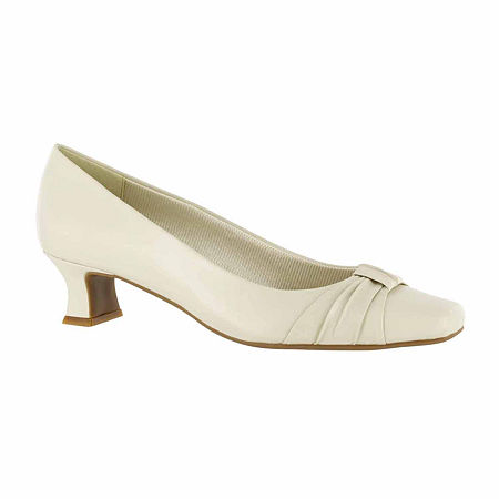 Easy Street Womens Waive Pumps Kitten Heel, 9 Wide, Beige