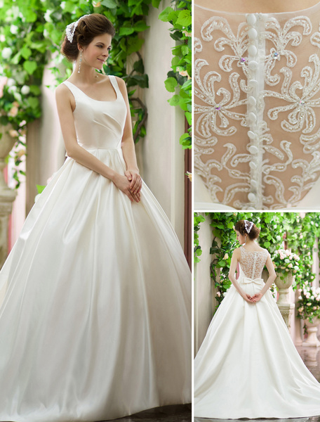 Milanoo Ivory A-line Square Neck Lace Princess Silhouette Wedding Dress