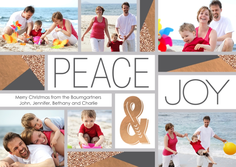 Christmas Photo Cards 5x7 Cards, Premium Cardstock 120lb with Scalloped Corners, Card & Stationery -Modern Peace & Joy