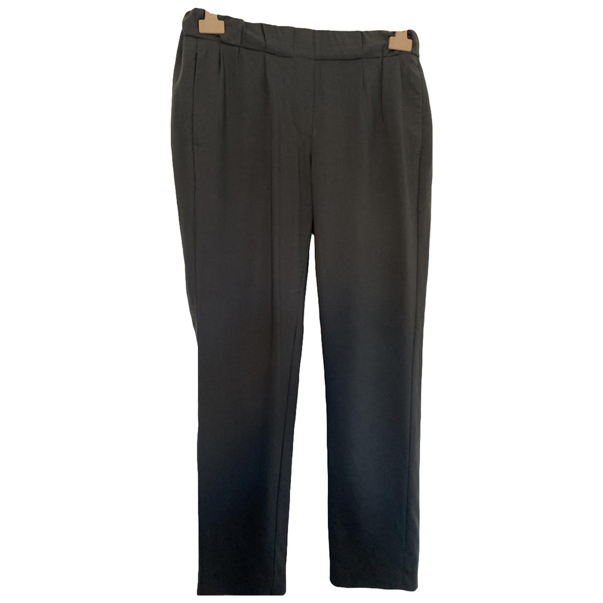 Brunello Cucinelli \N Charcoal Wool Trousers for Women 40