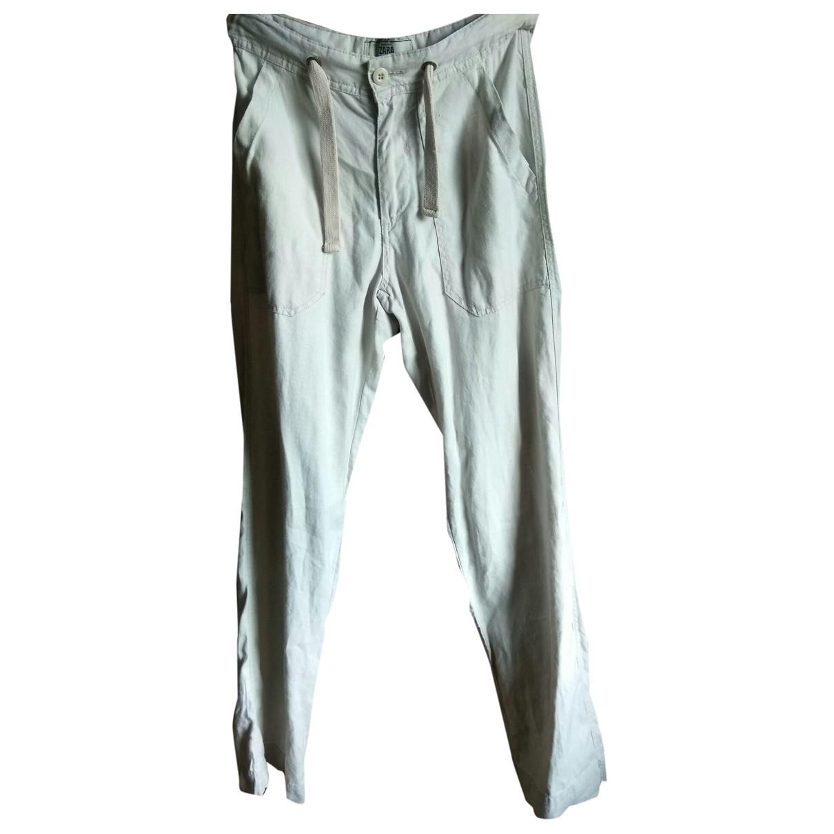 Zara \N Beige Linen Trousers for Women M International