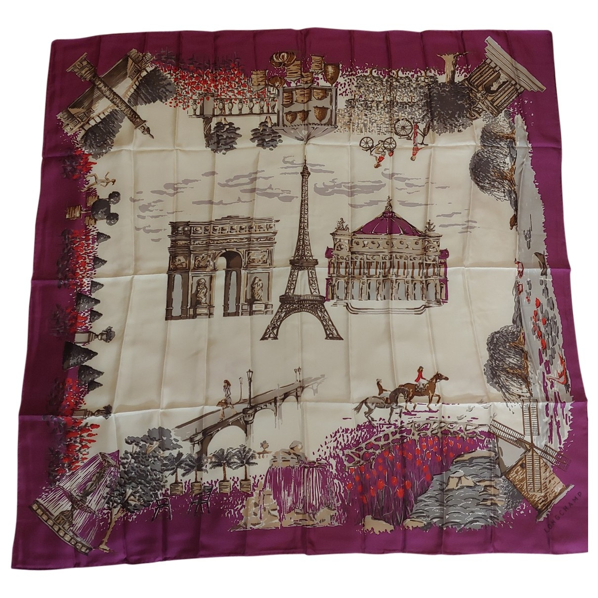 Longchamp \N Purple Silk Silk handkerchief for Women \N