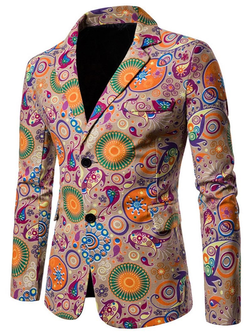 Ericdress Geometric Pattern Floral Print Mens Casual Blazer