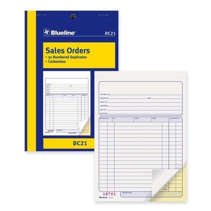 Blueline@ Sales Orders Carbonless Copy - duplicate,5-3/8 x 8