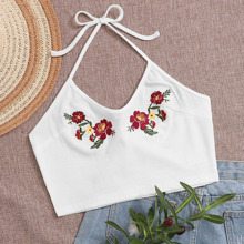 Floral Embroidered Rib-Knit Halter Top