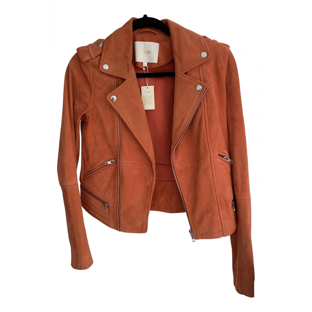 Maje \N Orange Suede Leather jacket for Women 36 FR