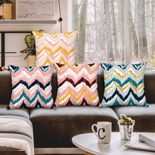 1pc Chevron Pattern Cushion Cover Without Filler