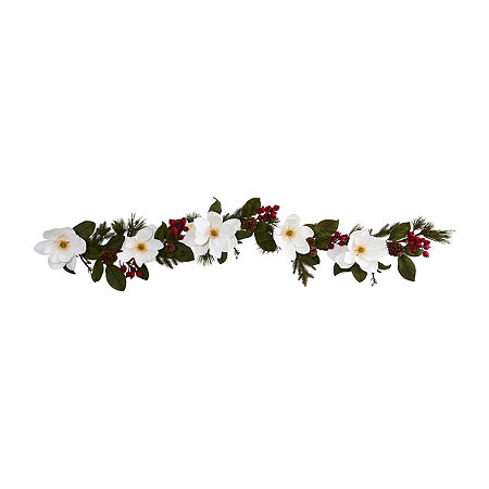 Nearly Natural 6 Magnolia; Pine And Berries Artificial Garland Artificial Flowers, One Size , White