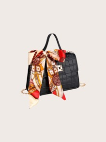 Twilly Scarf Decor Croc Embossed Satchel Bag