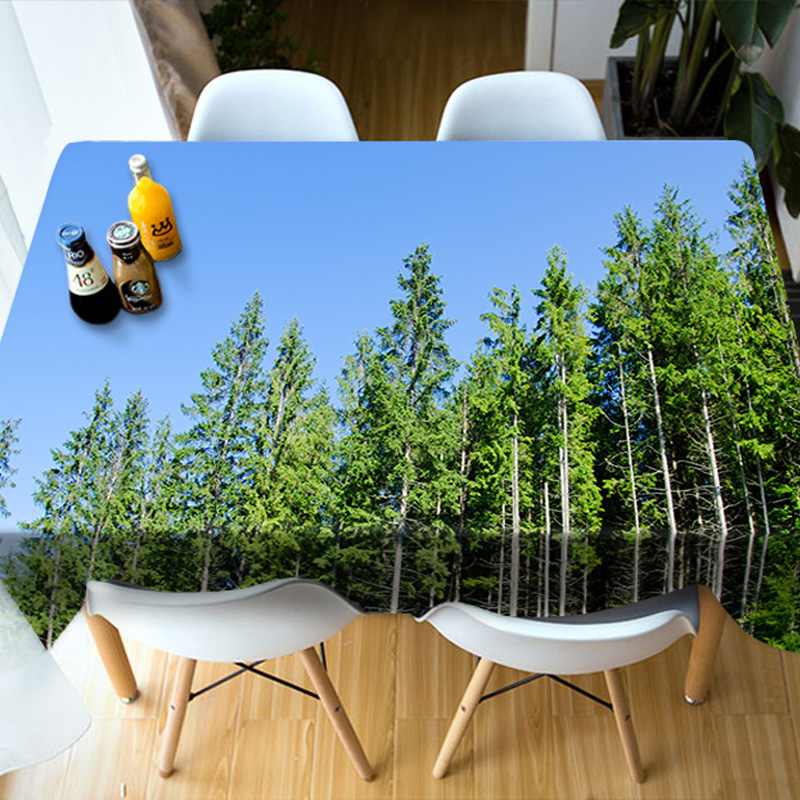 Waterproof Oilproof Polyester Rectangle Home Use 3D Tablecloth