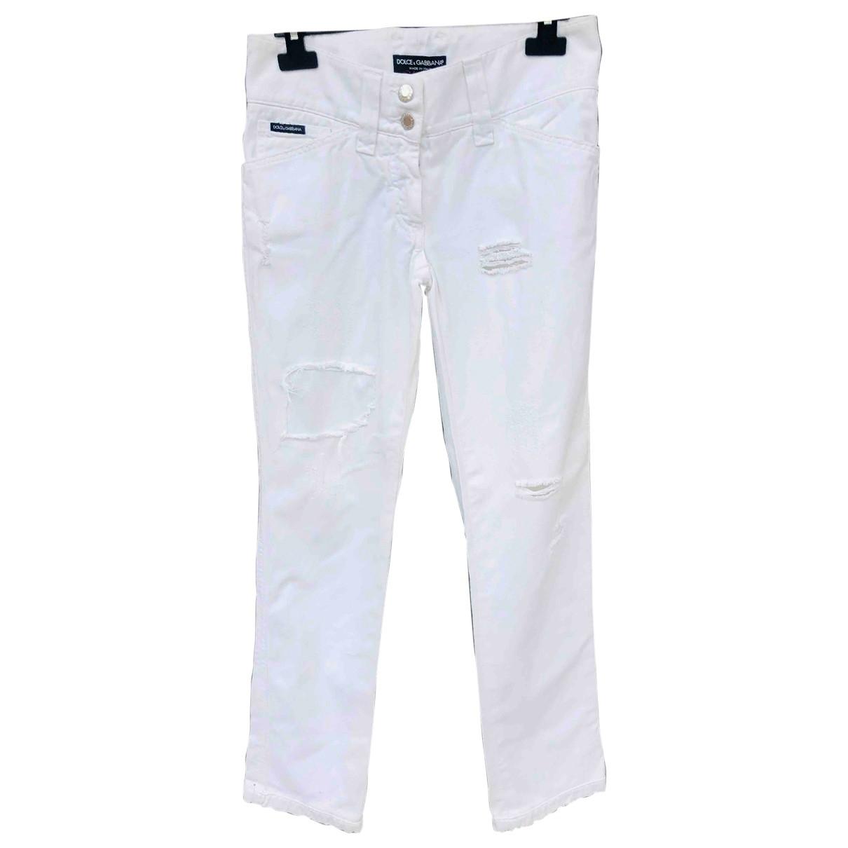 Dolce & Gabbana \N White Cotton Trousers for Women 38 IT