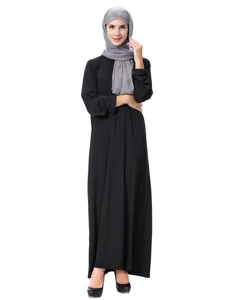 Milanoo Black Abaya Dress Long Sleeve Cut Out Muslim Dress
